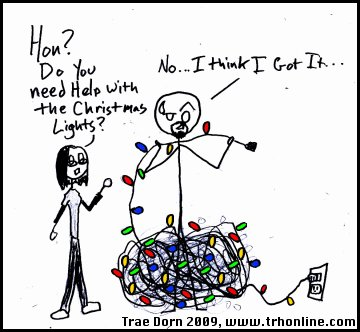 Stick figure tangled in Christmas lights