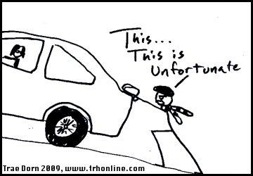 Stick man pushes car.