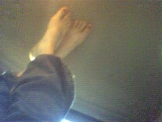 These are Erika's feet.  Why she took this photo, I don't know