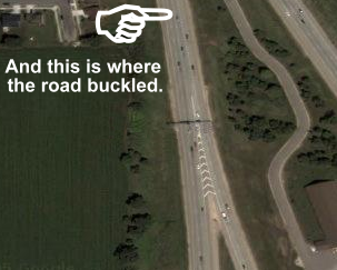 This is where the road buckled